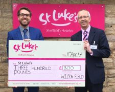 St Luke's Chq Presentation - Jack Kidder and Phil - local charities
