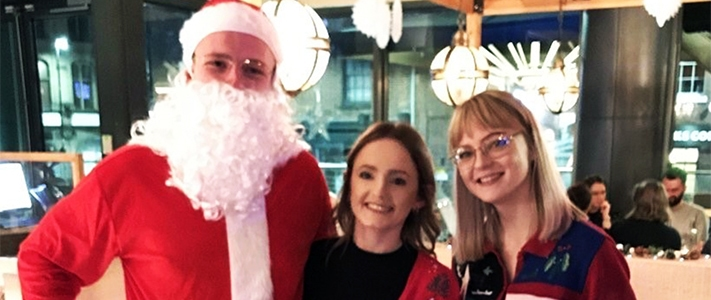 Santa (Conor) with Charlotte & Beth